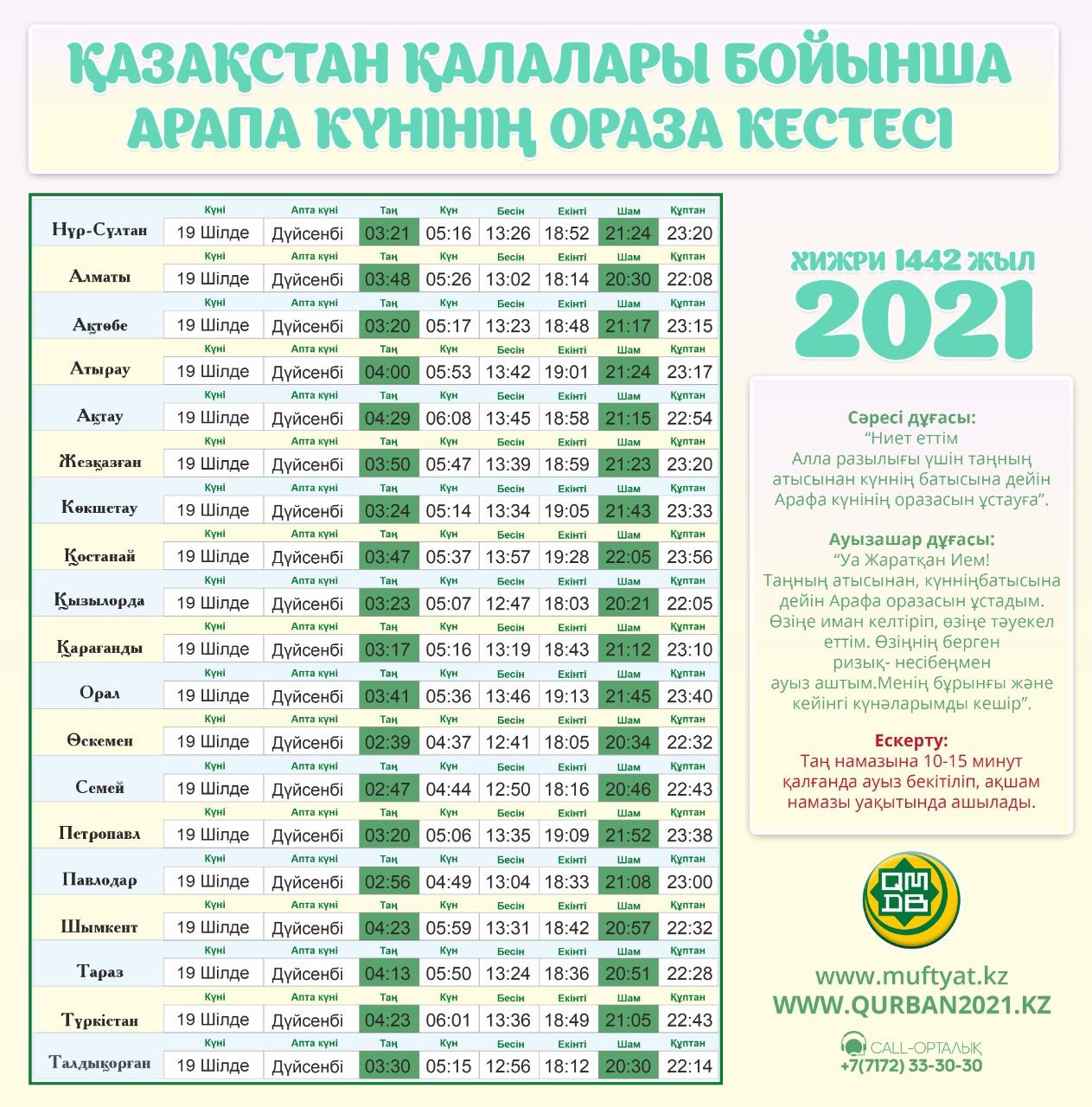АРАПА КҮНІНІҢ ОРАЗА КЕСТЕСІ – 2021